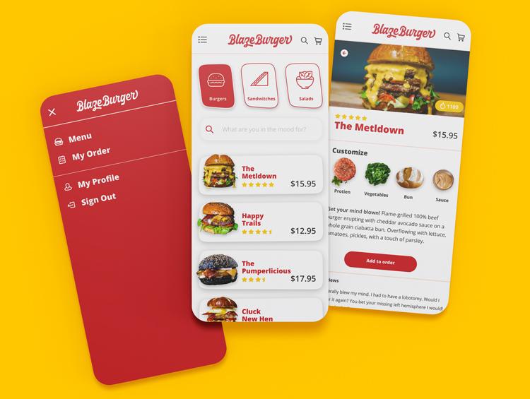 Screen mockups of the BlazeBurger app